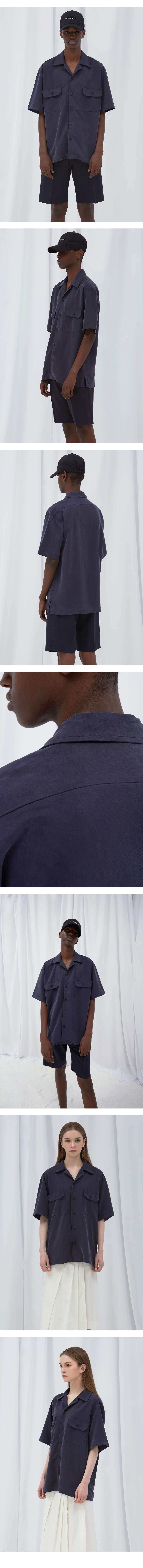 꼼소넛(COMSONNOT) Half sleeve tencel shirt (Navy) [Unisex]